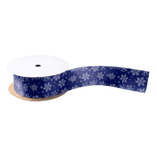 Blue and White Snowflakes Pattern Satin Ribbon