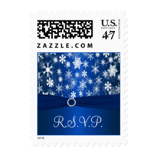 Blue and White Snowflakes RSVP Postage