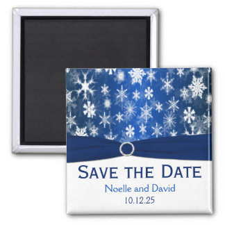 Blue and White Snowflakes Save the Date Magnet