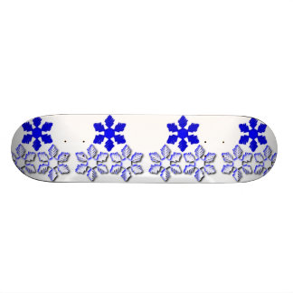 Blue and White Snowflakes Skateboard