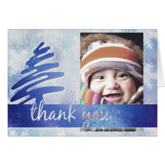 "Blue and White Snowflakes ""Thank You"" Holiday Card"