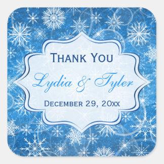 Blue and White Snowflakes Wedding Favor Sticker