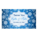 Blue and White Snowflakes Wedding Favor Tag Business Card
