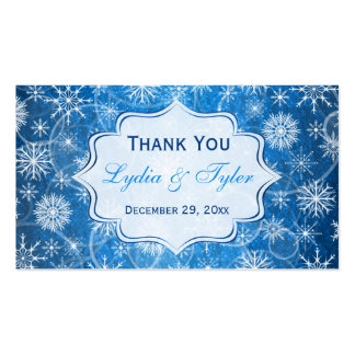 Blue and White Snowflakes Wedding Favor Tag Double-Sided Standard Business Cards (Pack Of 100)