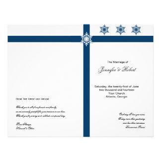 Blue and White Snowflakes Wedding Program