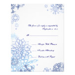 Blue and White Snowflakes Wedding RSVP 3 Personalized Announcements