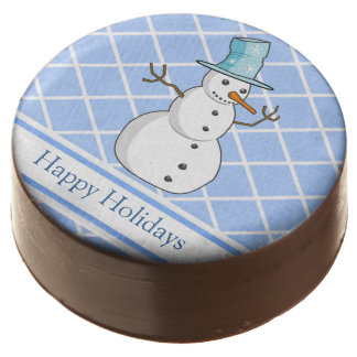 Blue And White Snowman Hapy Holidays Design Chocolate Covered Oreo
