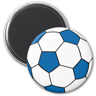 blue and white soccer ball 2 inch round magnet