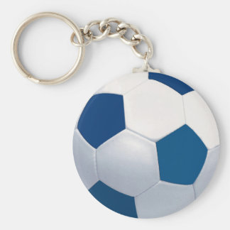 Blue and White Soccer Ball Keychain