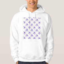Blue and White Soccer Ball Pattern Hoodie