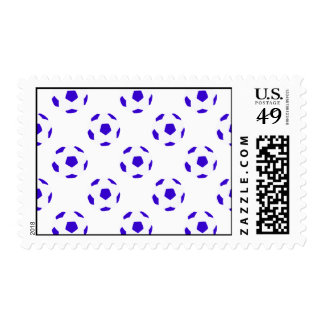 Blue and White Soccer Ball Pattern Postage