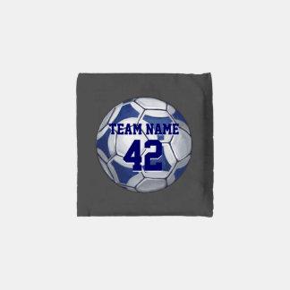 Blue and White Soccer Ball with name Reusable Bag