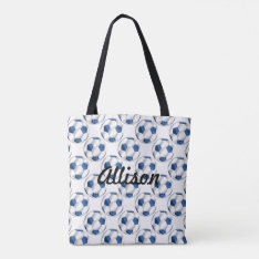 Blue and White Soccer Balls with Name Tote Bag at Zazzle