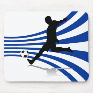 Blue and White Soccer Player Mouse Pad