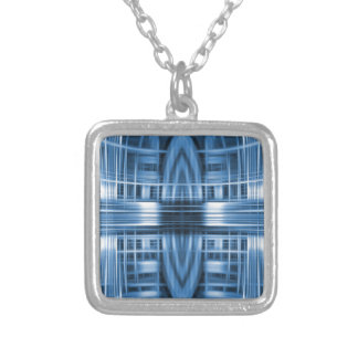 Blue and white speed blur pattern square pendant necklace