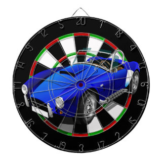 Blue and white sports car dartboard