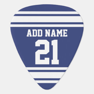 Blue and White Sports Jersey Custom Name Number Guitar Pick