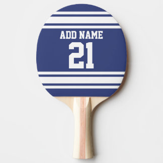 Blue and White Sports Jersey Custom Name Number Ping Pong Paddle