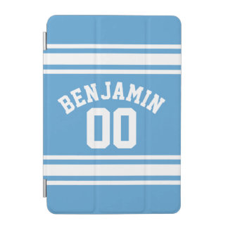 Blue and White Sports Jersey Custom Name Number iPad Mini Cover