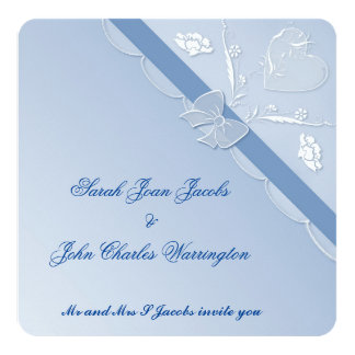 Blue and White Square Lace Wedding Invitation Card