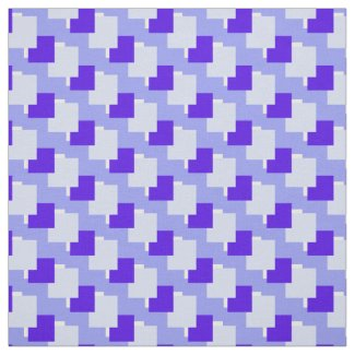 Blue and White Squares Geometric Pattern Print Fabric