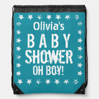 Blue and White Star BABY SHOWER for Boy G01Z Drawstring Backpack