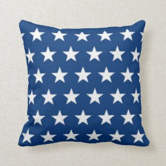 Blue and White Star Field Throw Pillow