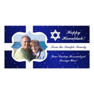 Blue and White Star Hanukkah or Holiday Photo Card