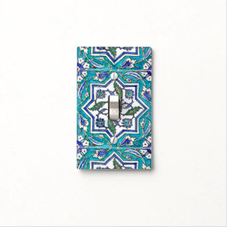 Blue and white star light switch cover