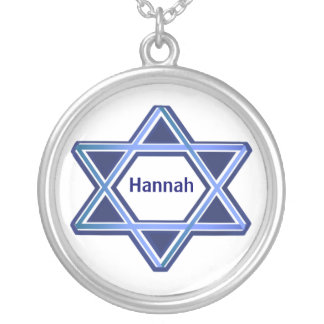 Blue and White Star of David Necklace
