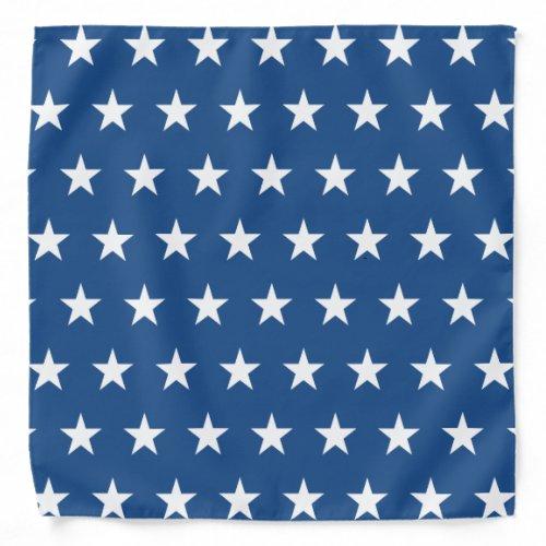 Blue and White Star Pattern Bandana