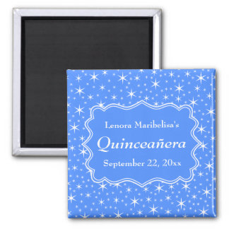 Blue and White Star Pattern Quinceanera 2 Inch Square Magnet