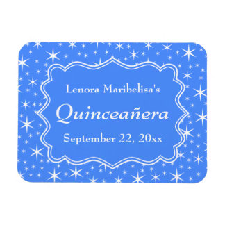 Blue and White Star Pattern Quinceanera Rectangular Photo Magnet