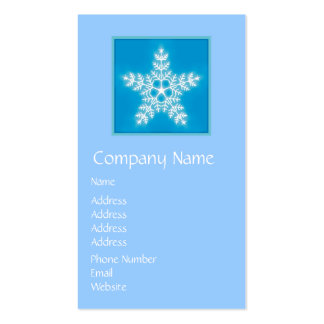 Blue and White Star Snowflake Double-Sided Standard Business Cards (Pack Of 100)