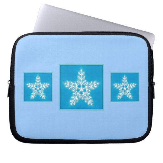 Blue and White Star Snowflake Laptop Sleeve
