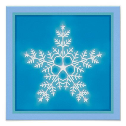 Blue and White Star Snowflake Posters