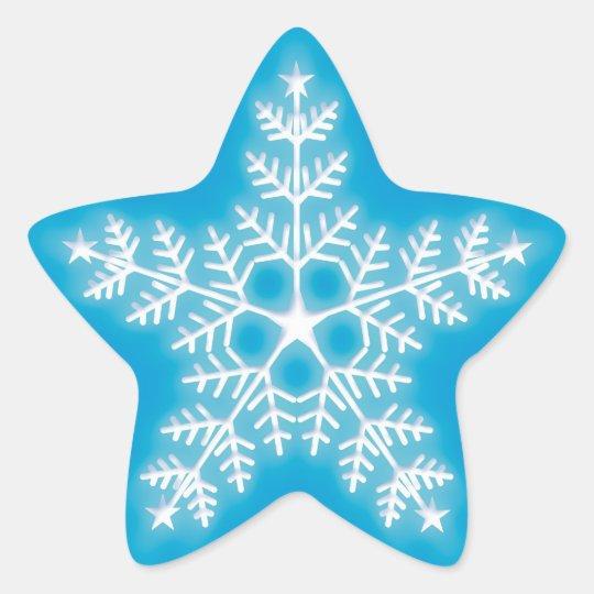 Blue and White Star Snowflake Star Sticker