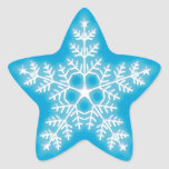 Blue and White Star Snowflake Sticker