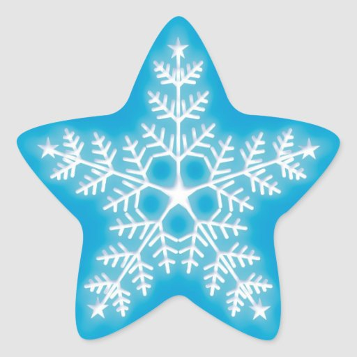 Blue and White Star Snowflake Sticker