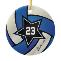 Blue and White Star Volleyball 2 Ceramic Ornament