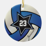 Blue and White Star Volleyball Ornaments