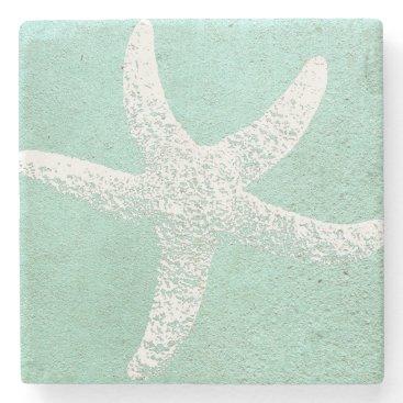 Beach Themed Blue and White Starfish Coaster