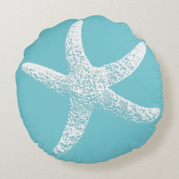 Beach Themed Blue and White Starfish Round Pillow