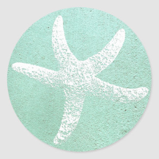 Blue and White Starfish Sticker