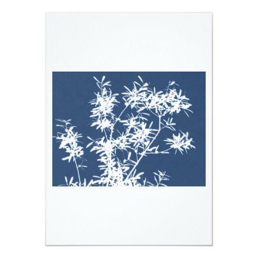Blue and white stark leaves graphic cutout 5x7 paper invitation card
