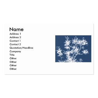 Blue and white stark leaves graphic cutout business card
