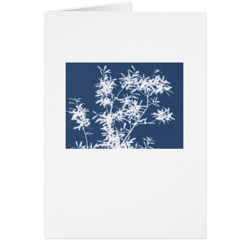 Blue and white stark leaves graphic cutout greeting card
