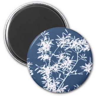Blue and white stark leaves graphic cutout magnet