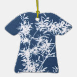Blue and white stark leaves graphic cutout ornaments
