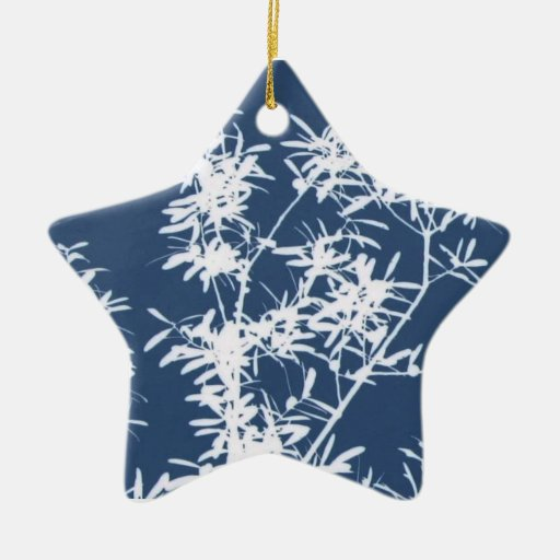 Blue and white stark leaves graphic cutout christmas ornaments